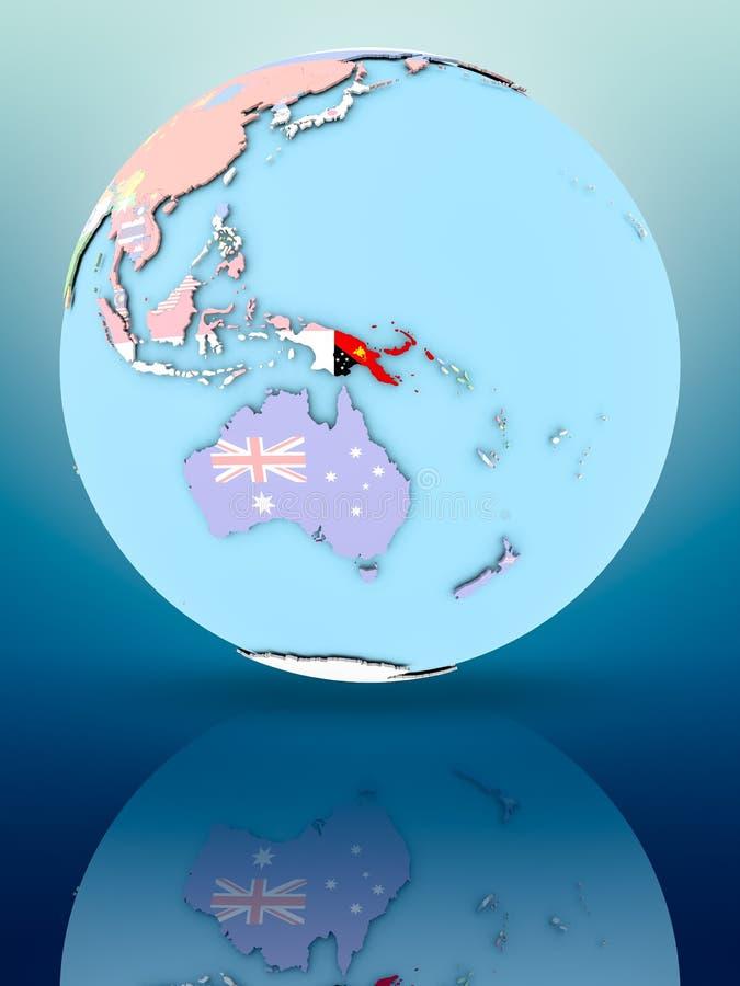 Papua - nowa gwinea na politycznej kuli ziemskiej z flaga royalty ilustracja