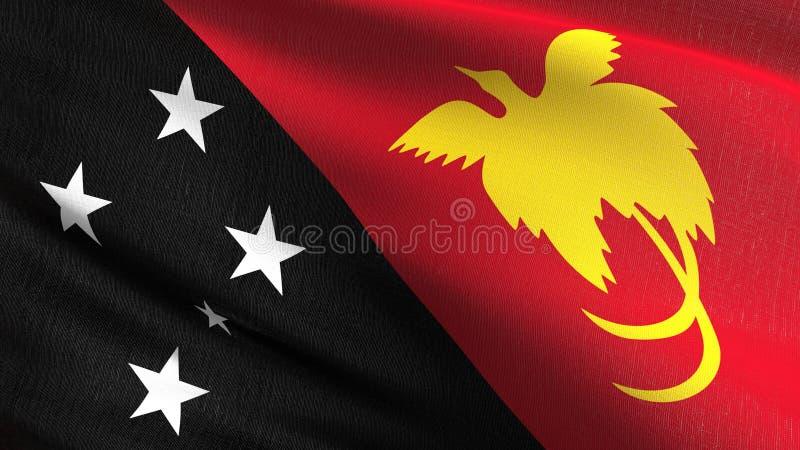 Papua - nowy gwinei flagi państowowej dmuchanie w wiatrze odizolowywającym Oficjalny patriotyczny abstrakcjonistyczny projekt 3D  ilustracji