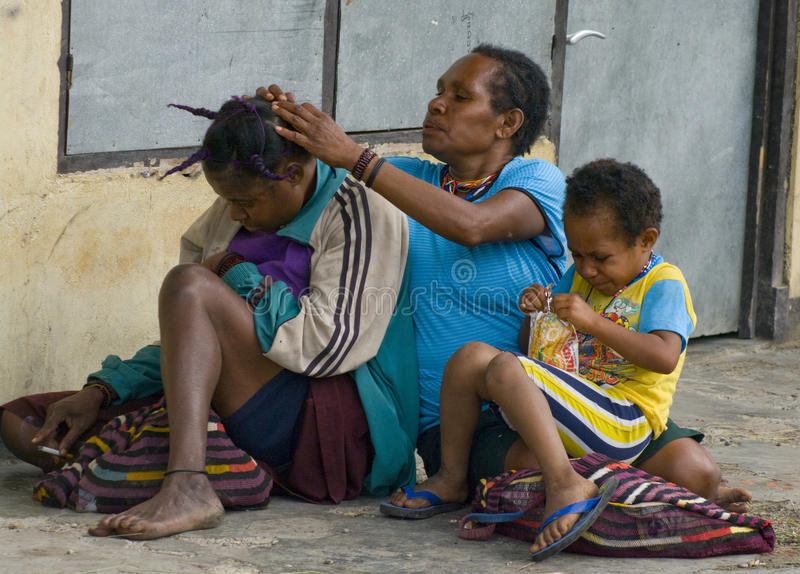 Papua people in Wamena at New Guinea Island. stock images