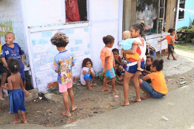 Papuan孩子在曼诺瓦里 免版税图库摄影