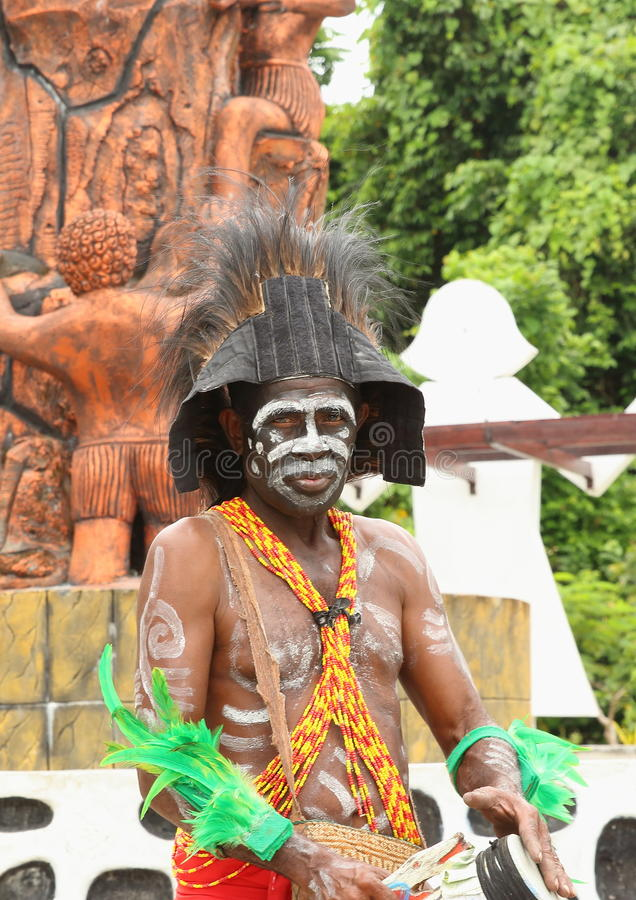 Papuan in Traditional Costume stock image