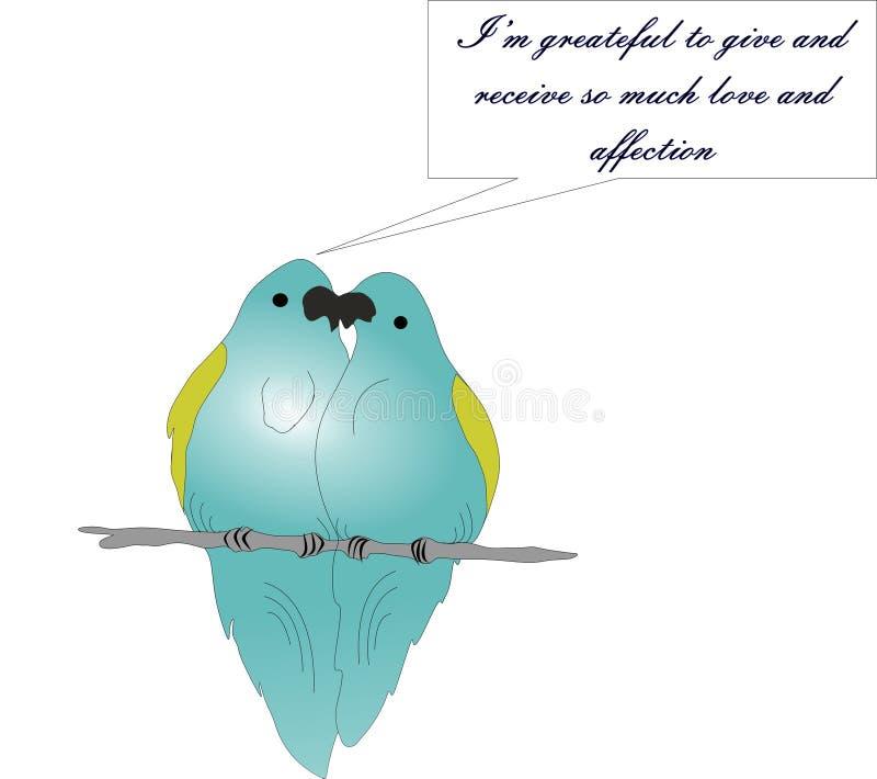 Papugi w miłości, dwa papugi na gałąź ilustracji