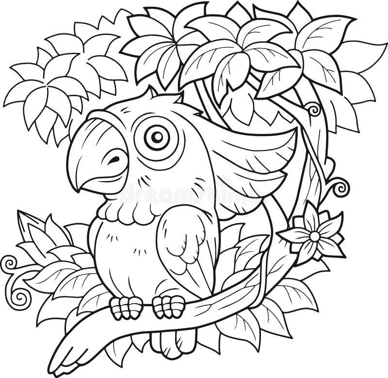 Papuzi kakadu obsiadanie na gałąź royalty ilustracja
