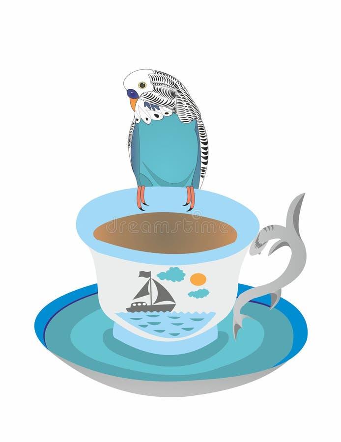 Papuzi Kesha na filiżance herbata ilustracja wektor