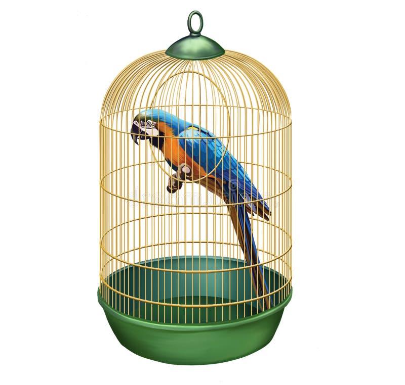 Papuga w retro klatce. ara w ptasiej klatce ilustracji