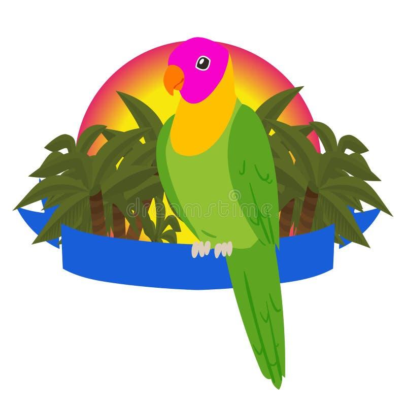 Papuzia raju sztandaru wektoru ilustracja Ptaki siedzi na faborku z miejscem dla teksta Przyroda dżungla i tropikalny ilustracji