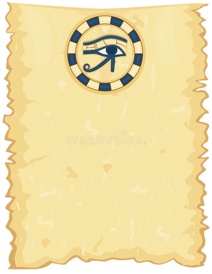 Papyrus égyptien avec l'oeil de Horus illustration libre de droits