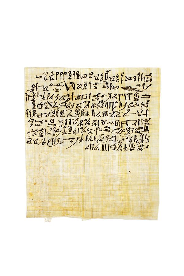 Papyrus containing the anthem of Sekhmet-Bast, daughter of Ra Egyptian Book of the Dead, chapter CLXIV 164 in hieratika. Handpainted with ink now. Isolated stock photography