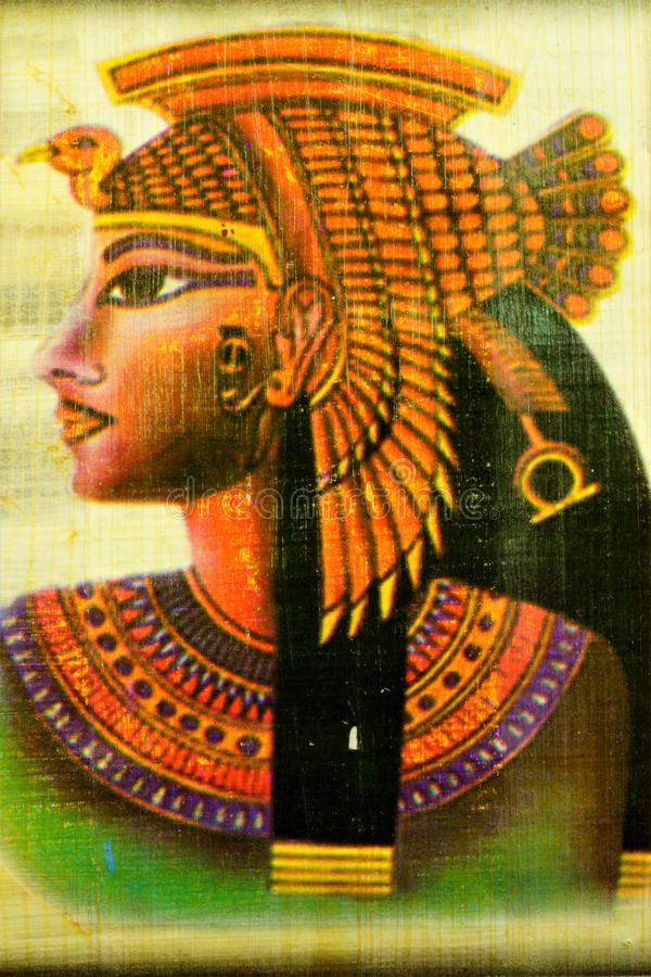 Papyrus Egyptian Queen Cleopatra, a famous woman of antiquity. stock photography