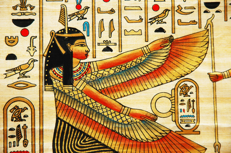 Papyrus with elements of egyptian ancient history royalty free stock photography