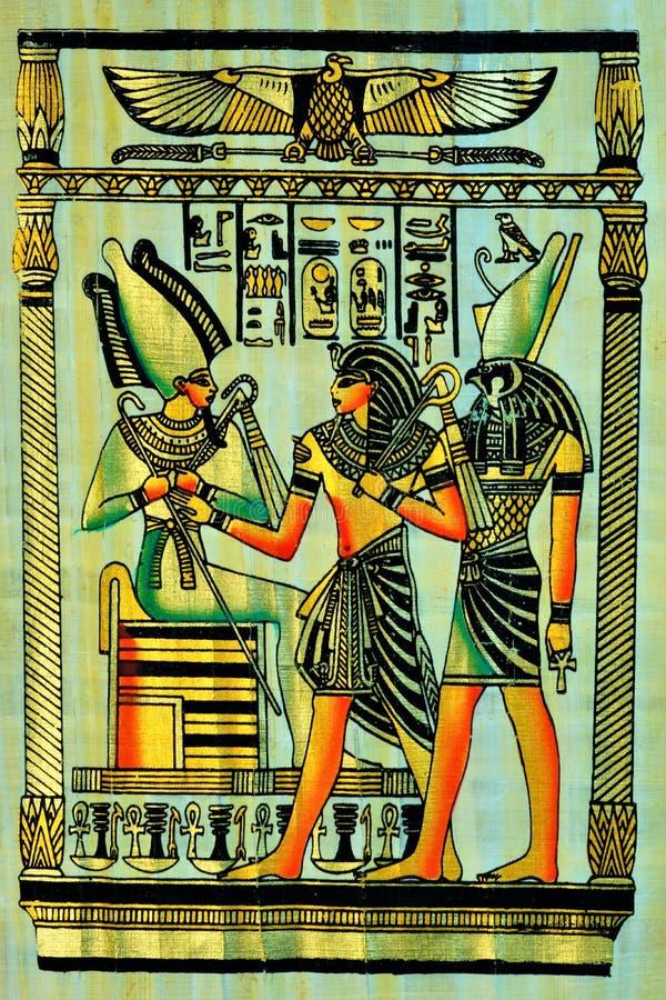 Papyrus het schrijven materiaal, in oudheid gemeenschappelijk in Egypte, en later in de volledige ruimte van de oude wereld stock afbeelding