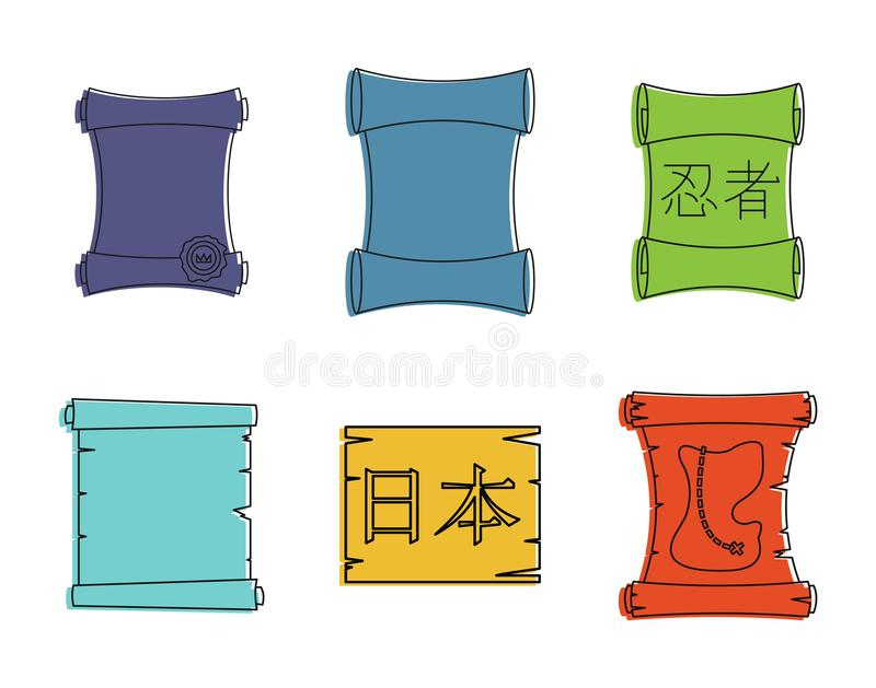 Papyrus icon set, color outline style stock illustration