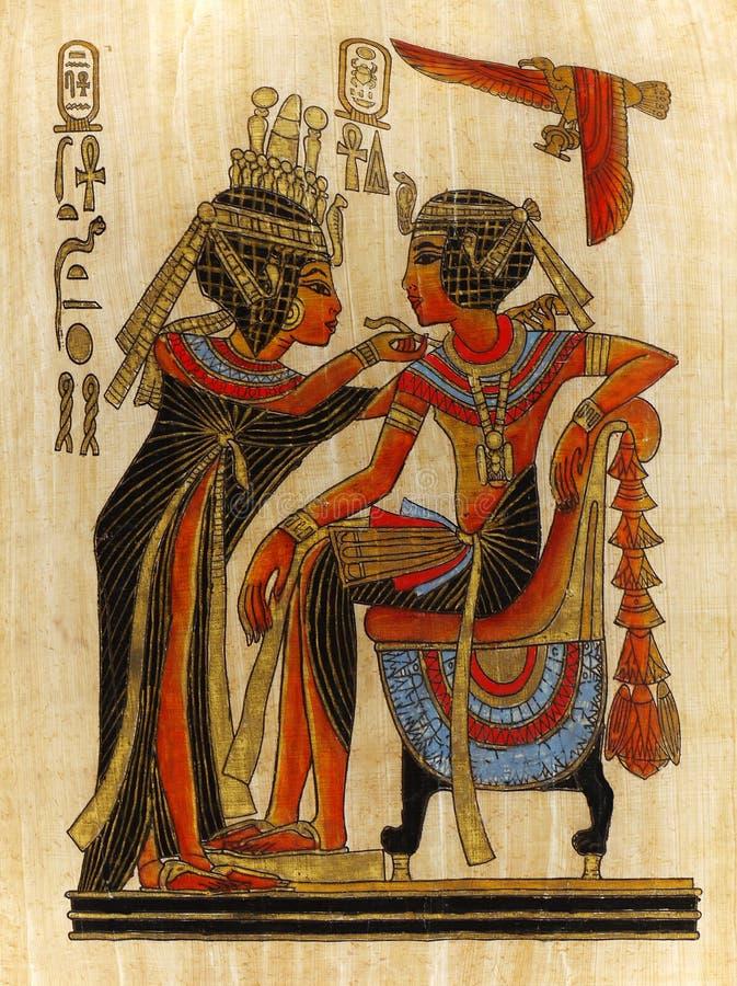 Papyrus-Malerei-Pharao und Königin lizenzfreies stockfoto