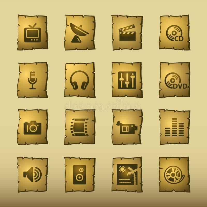 Free Papyrus Media Icons Royalty Free Stock Image - 3585846