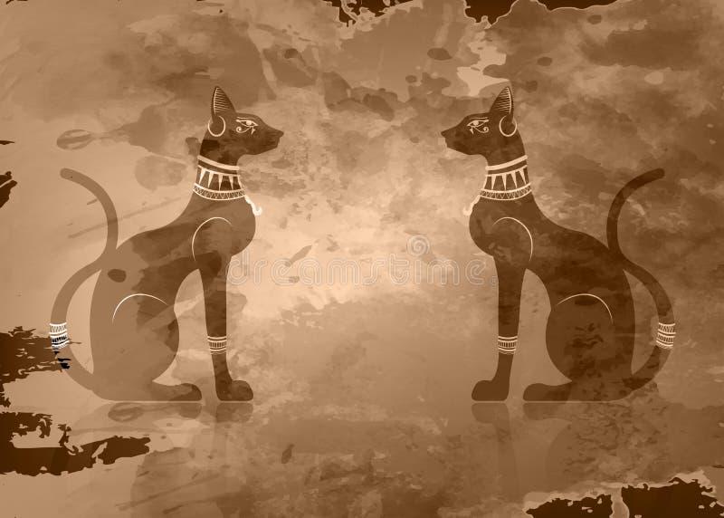 Papyrus met Zwarte Egyptische katten Bastet, de oude godin van Egypte, standbeeldprofiel met oud Pharaonic juwelenornament, vecto stock illustratie