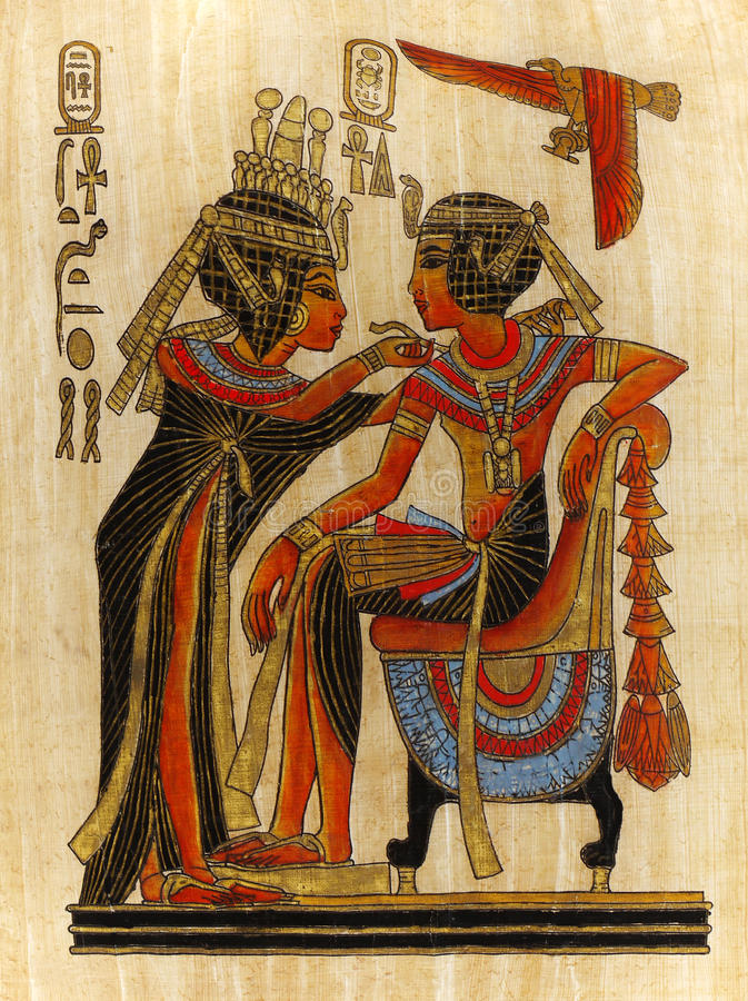 Papyrus Painting Pharaoh and Queen royalty free stock photo