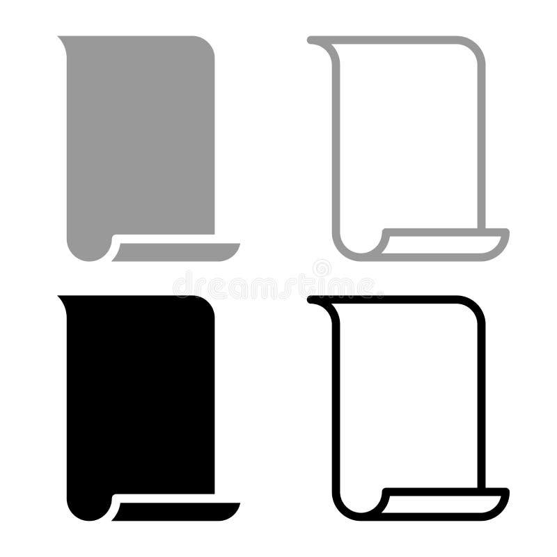 Papyrus paper Parchment paper Manuscript icon set black color vector illustration flat style image. Papyrus paper Parchment paper Manuscript icon set black color vector illustration
