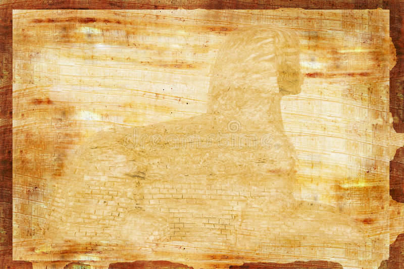 Papyrus with Sphnix watermark. Old Papyrus with Sphnix watermark royalty free stock photography