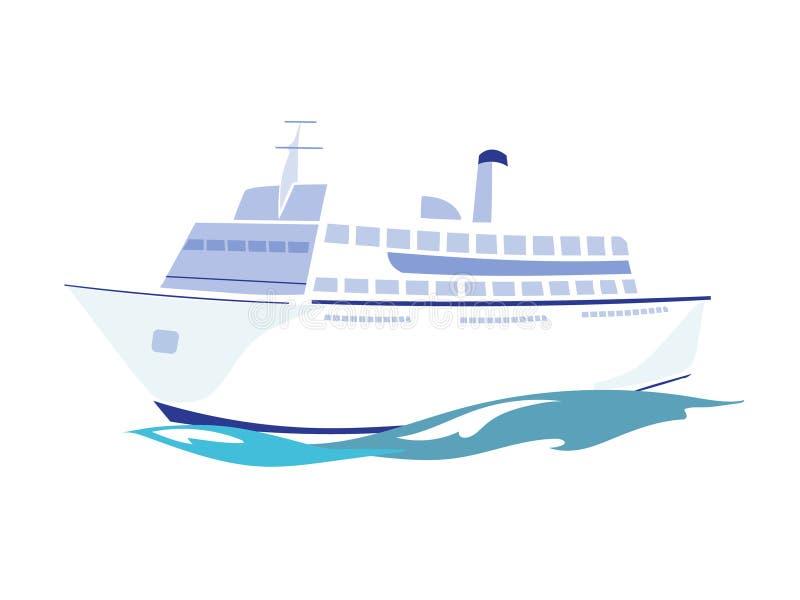 Paquebot blanc sur l'eau Illustration de vecteur illustration de vecteur
