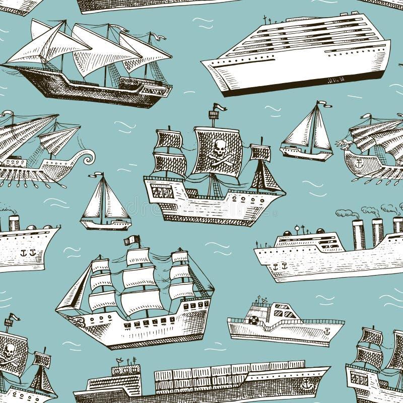 Paquebot de revêtement ou de passager de croisière de voilier de navire de bateau de bateau et hors-bord ou sous-marin et yacht p illustration de vecteur