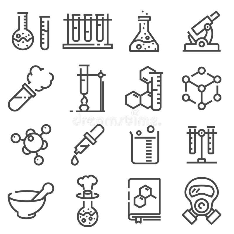 Paquet à la mode d'icônes de chimie de vecteur pour la conception illustration stock