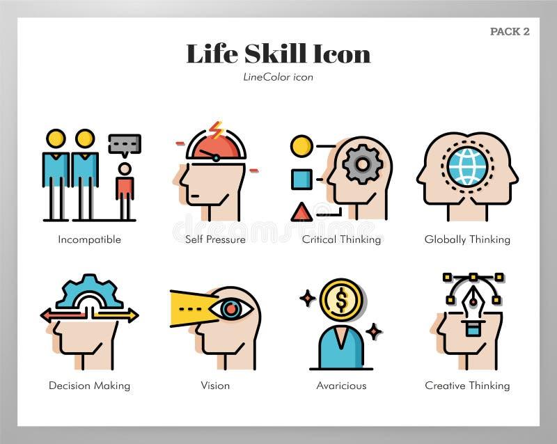 Paquet à la vie quotidienne de LineColor d'icônes illustration stock