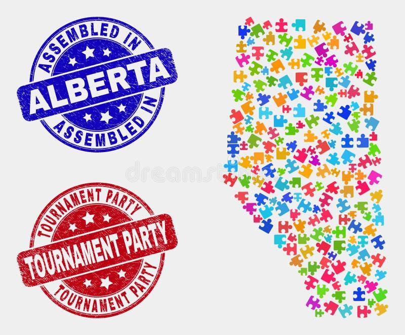 Paquet Alberta Province Map et rayé joints assemblé et de tournoi de partie illustration libre de droits