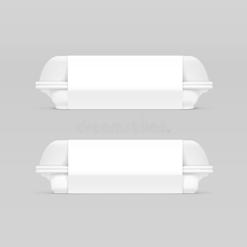 Paquet blanc d'emballage de paquet d'emballage de récipient de boîte à aliments de préparation rapide de vecteur sur le fond illustration libre de droits
