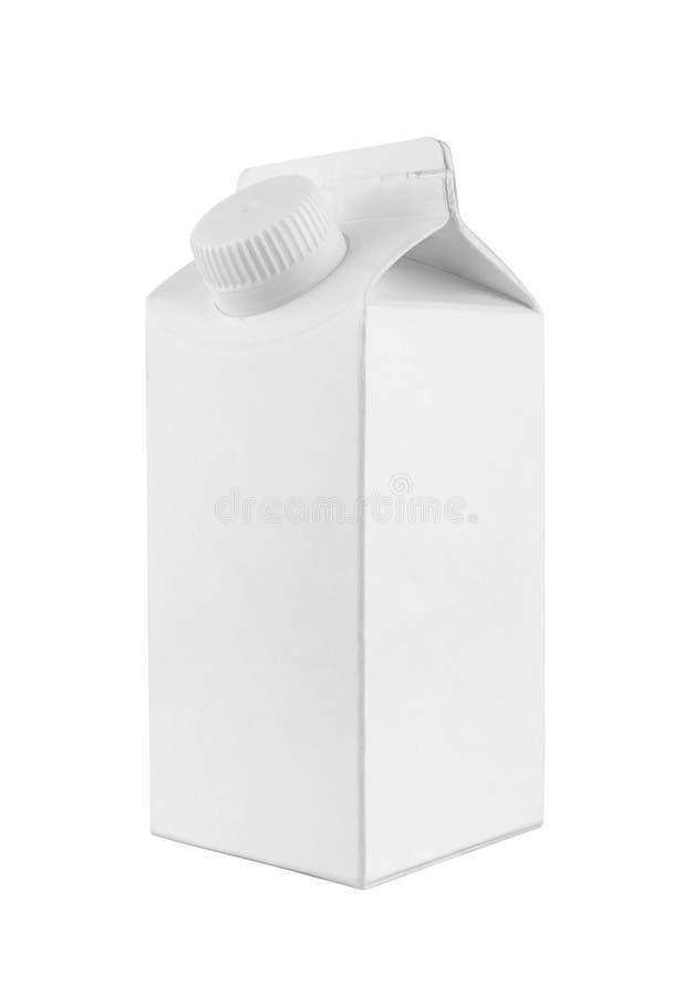 Paquet blanc de carton de lait et de jus photographie stock libre de droits