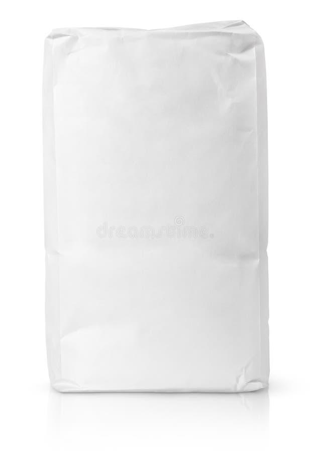Paquet blanc de sac de papier blanc de farine image libre de droits