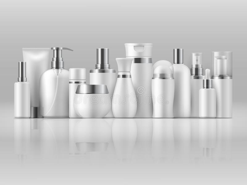 Paquet cosmétique de produit Calibre de empaquetage vide blanc de produit de la lotion 3D de shampooing de maquette de bouteille  illustration de vecteur