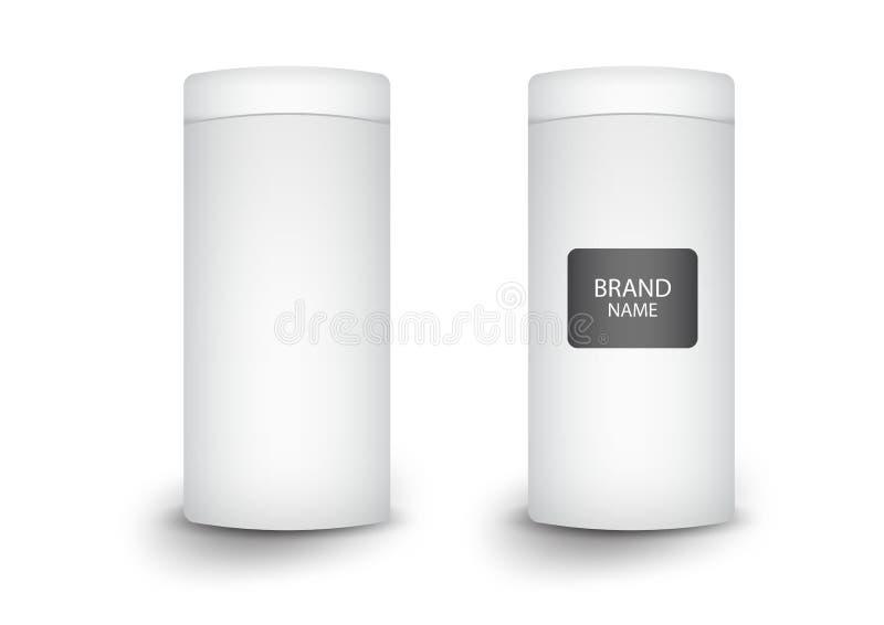 paquet cylindrique de la boîte 3d, conception de produits, illustration de vecteur illustration stock