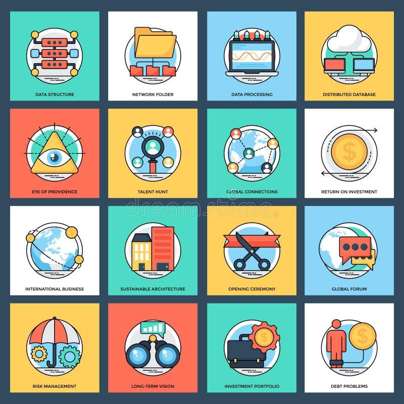 Paquet d'affaires et d'icônes plates de vecteur de gestion des données illustration de vecteur