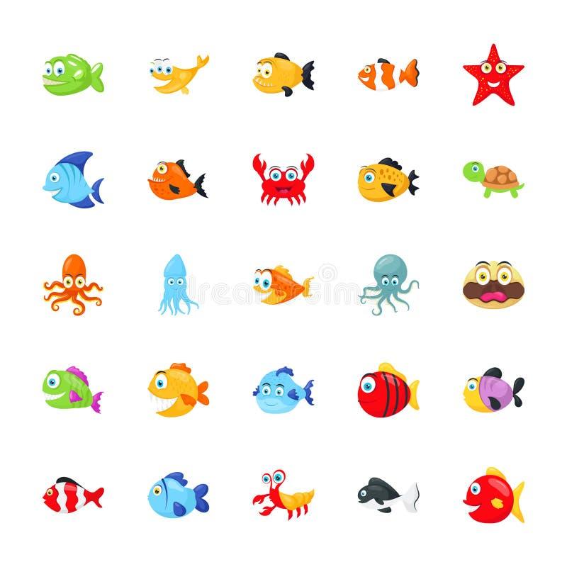 Paquet d'animaux de mer illustration de vecteur