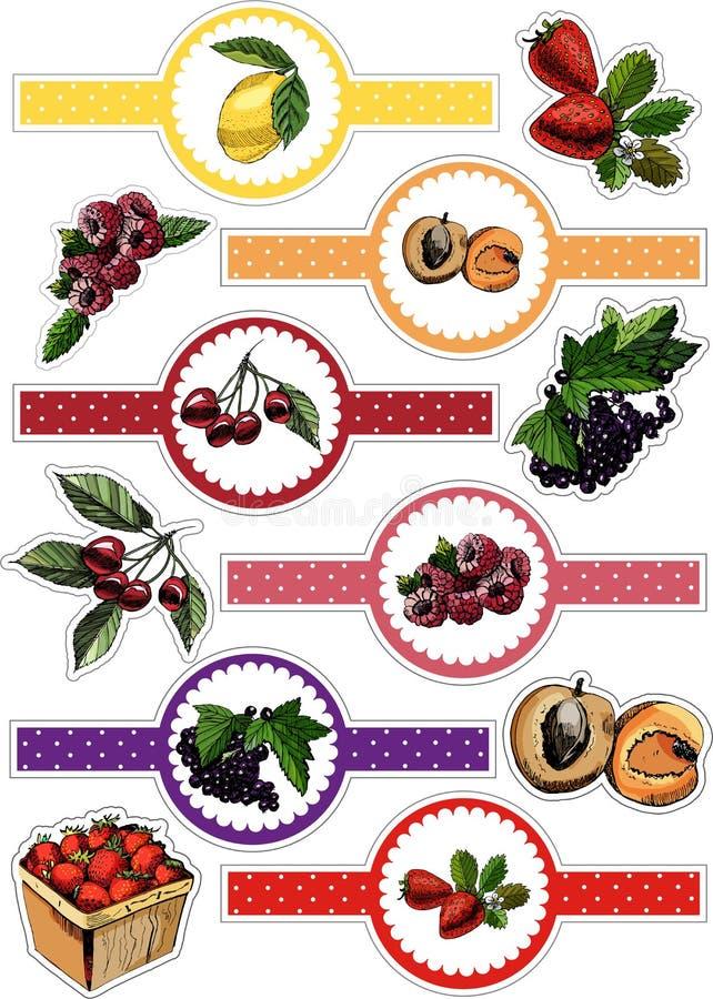 Paquet d'autocollants de baies et de fruits tirés par la main de croquis Illustration de vecteur de citron, cerise, groseille, ab illustration libre de droits