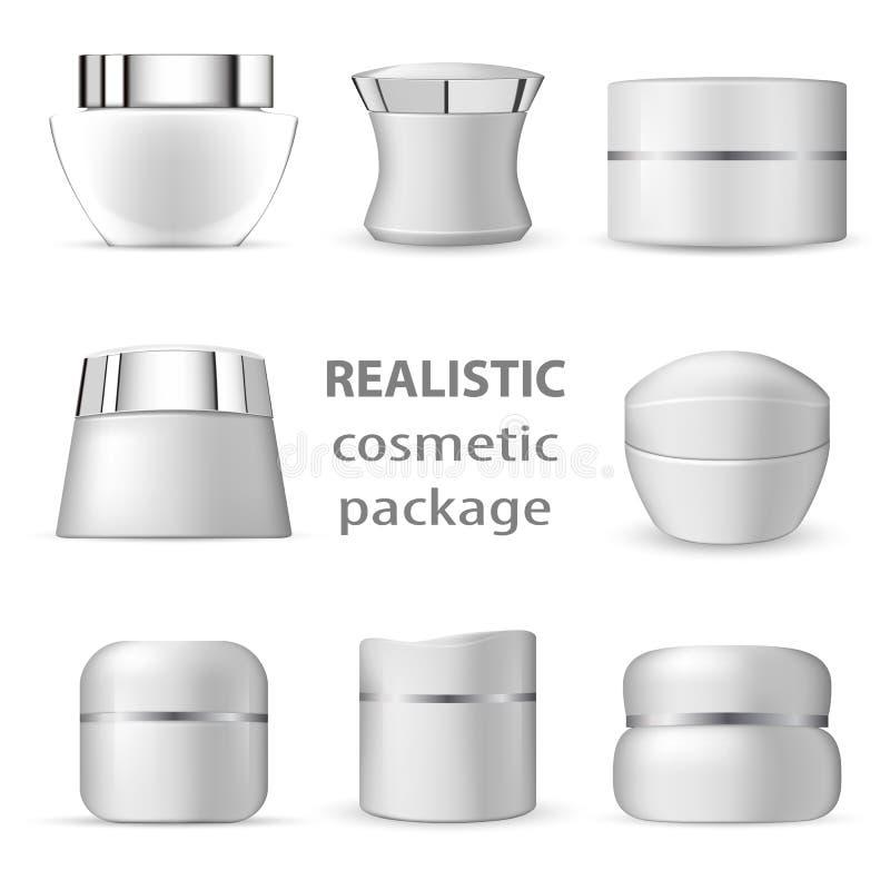 paquet 3d cosmétique réaliste blanc illustration stock