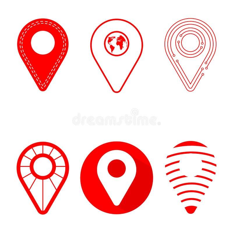Paquet d'icône de Geolocation L'ensemble de Geolocation signe dedans le style différent pour votre conception de site Web, le log illustration libre de droits