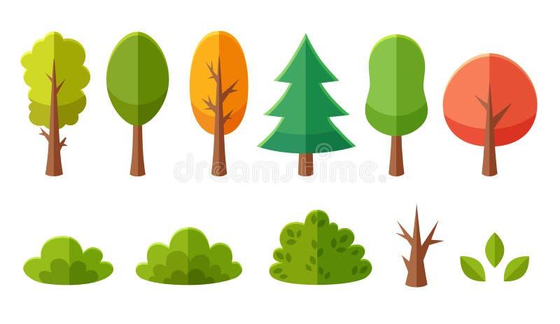 Paquet d'isolement d'arbres et de buissons de bande dessinée illustration stock