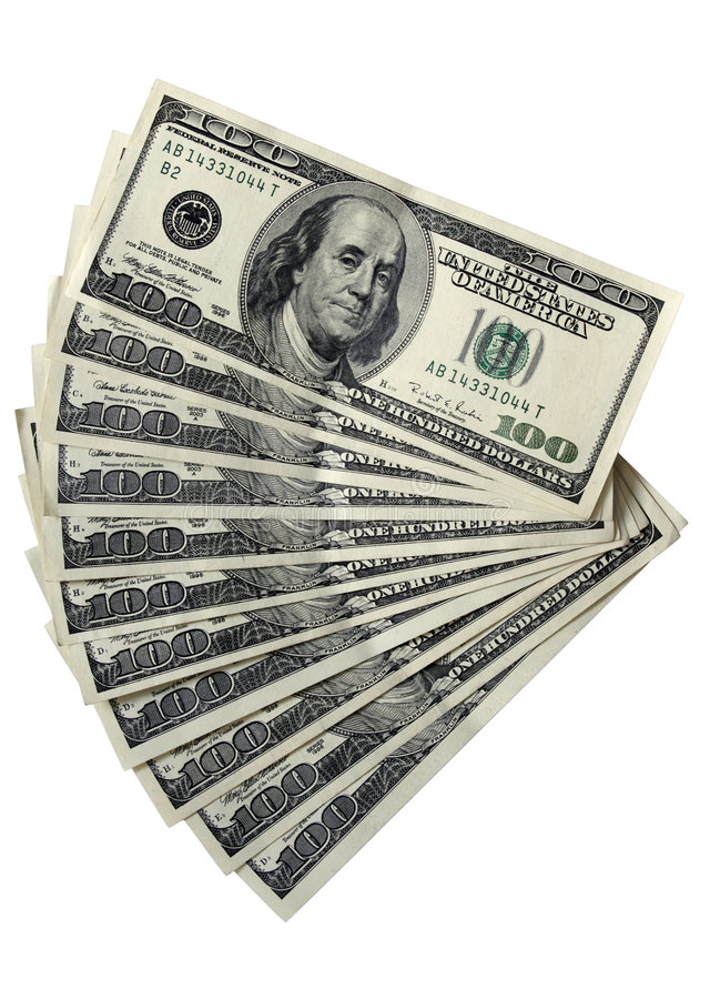 Paquet de 100 billets d'un dollar photo libre de droits