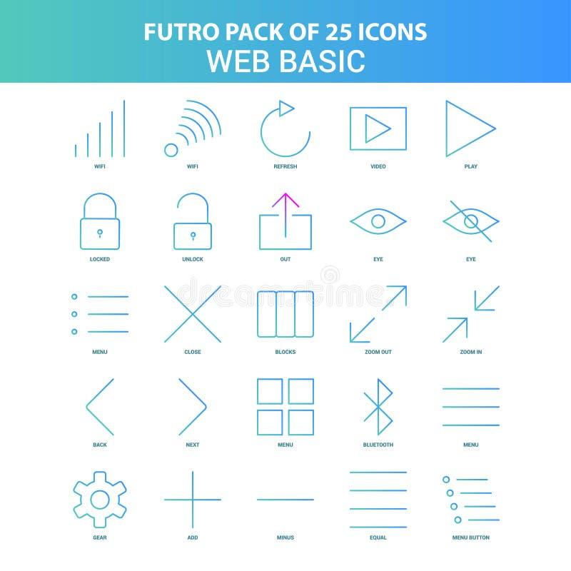 25 paquet de base d'icône de Web vert et bleu de Futuro illustration libre de droits