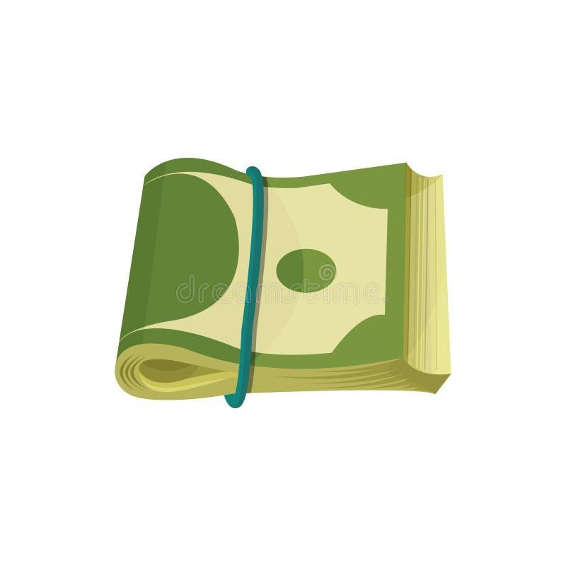 Paquet de billets de banque américains Les billets d'un dollar se sont pliés dans deux et se sont étendus par la bande élastique  illustration de vecteur