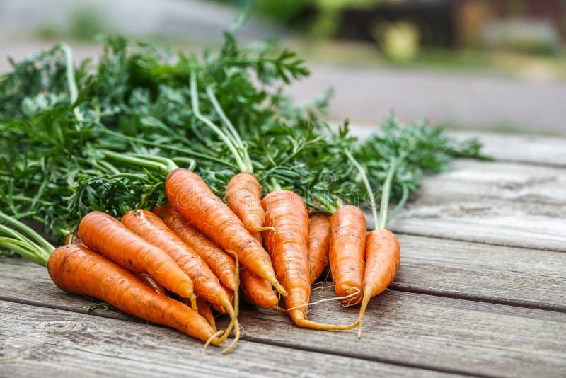 Paquet de carottes sur une table en bois rustique photo stock