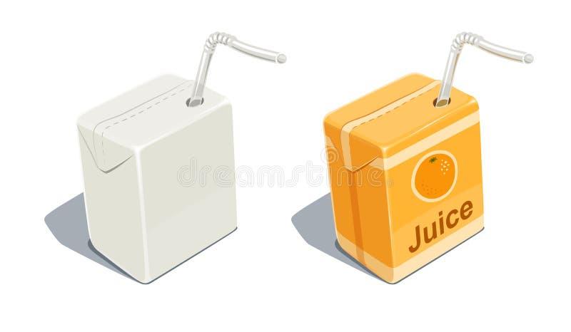Paquet de carton avec le blanc de tube pour le jus d'orange illustration libre de droits