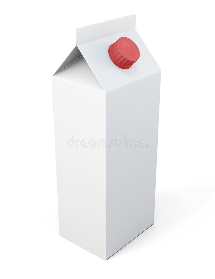 Paquet de carton de lait d'isolement sur le fond blanc rendu 3d illustration stock