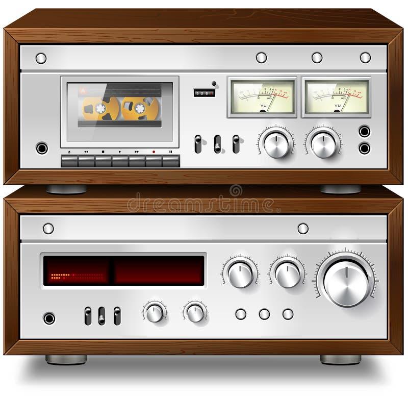 Paquet de cassette compact sonore stéréo de musique analogique avec l'amplificateur v illustration libre de droits