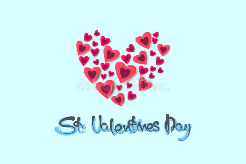 Paquet de coeurs roses et violets de papercut sur le fond bleu d'abstact Remettez les mots écrits, salutations avec le Saint Vale image libre de droits