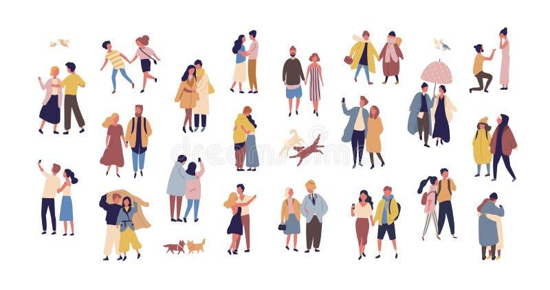 Paquet de couples habillés dans des vêtements saisonniers marchant sur la rue Collection des hommes et de femmes dans l'amour pen illustration stock