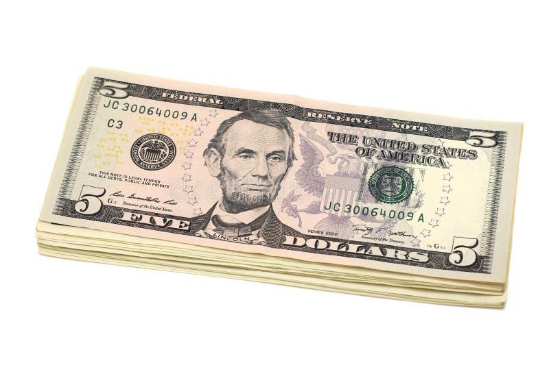 Paquet de factures en cinq dollars US photographie stock libre de droits
