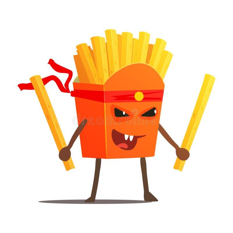 Paquet de fritures avec le combattant de karaté de deux bâtons, le mauvais Guy Cartoon Character Fighting Illustration d'aliments illustration libre de droits