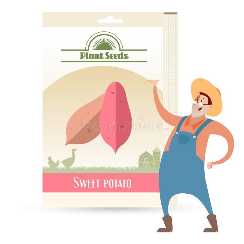 Paquet de graines de patate douce illustration libre de droits
